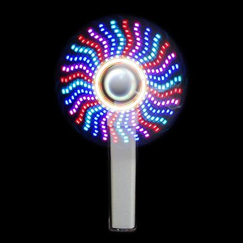 電光ホーム 光る LED 手持ち扇風機 USB 充電式 モバイルバッテリー ミニファン (ホワイト)
