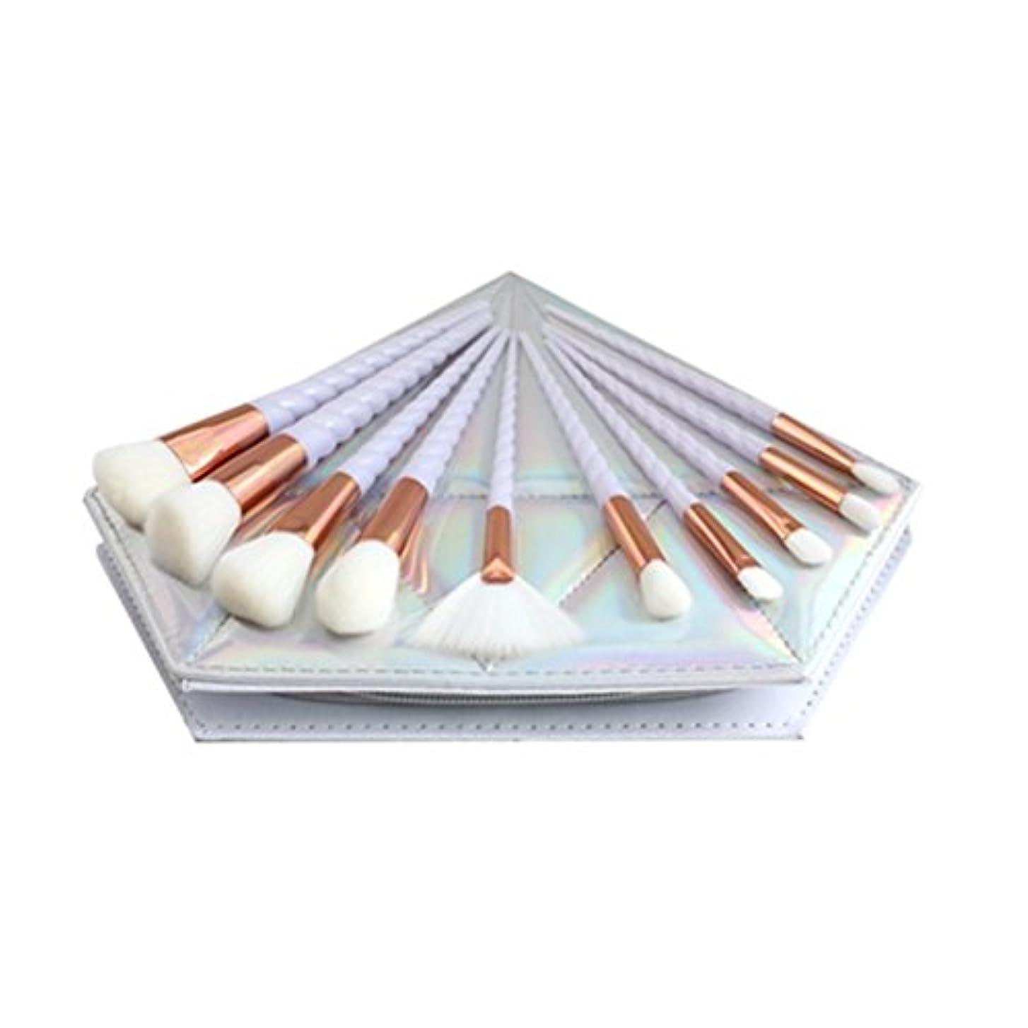 元気想起羨望Dilla Beauty 10本セットユニコーンデザインプラスチックハンドル形状メイクブラシセット合成毛ファンデーションブラシアイシャドーブラッシャー美容ツール美しい化粧品のバッグを送る (白い柄 - 白い髪)