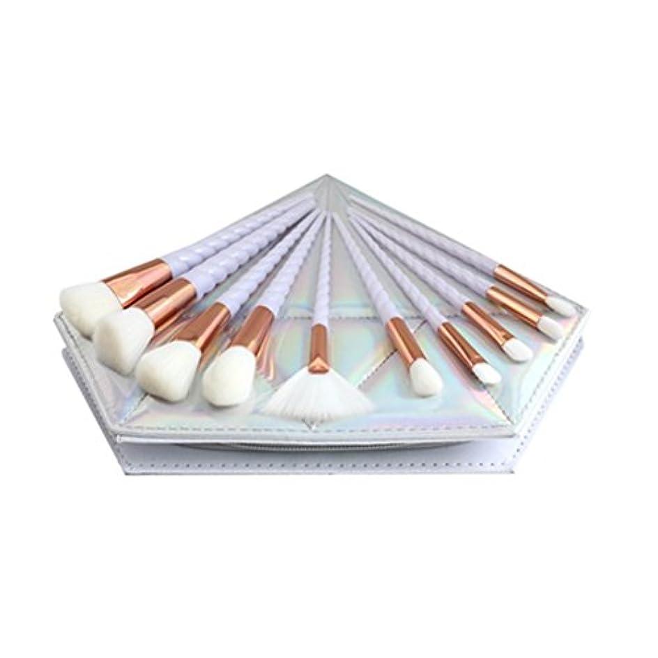 表示事業内容流Dilla Beauty 10本セットユニコーンデザインプラスチックハンドル形状メイクブラシセット合成毛ファンデーションブラシアイシャドーブラッシャー美容ツール美しい化粧品のバッグを送る (白い柄 - 白い髪)