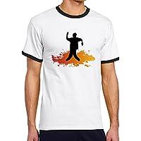 FreedomHip メンズ半袖 リンガーtシャツ Poppin Dance ポッピンダンス ハッピー マイスタイル オリジナルプリント カットソー