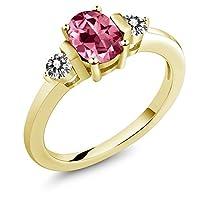 Gem Stone King 1.2カラット 天然石 ピンクトパーズ (スワロフスキー 天然石シリーズ) 天然 ダイヤモンド シルバー925 イエローゴールドコーティング 指輪 リング