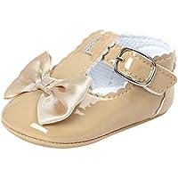 Meckior Infant Baby Girls Soft Sole Prewalker Crib PU Leather Mary Jane Shoes Princess Light Shoes