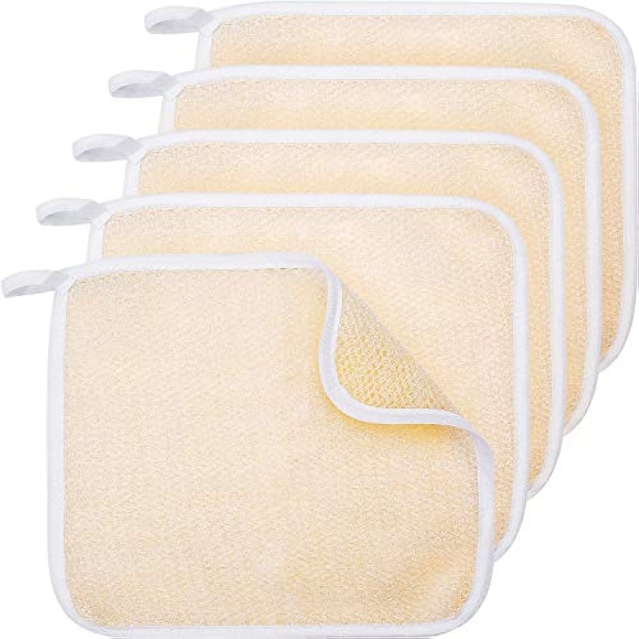 ほとんどない手拡大する5パックExfoliangフェイスとボディウォッシュクロスタオルソフトウィーブバスクロス剥離スクラブクロスマッサージバスクロス(女性と男性用)(5パック両面剥離クロス)