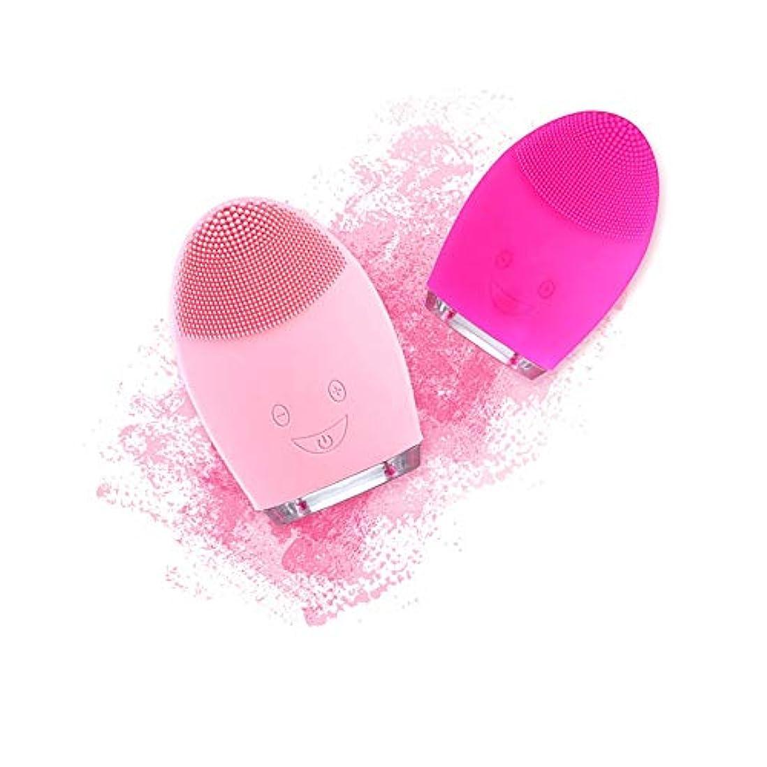 敗北食欲真っ逆さまZXF USB充電式シリコンクレンジング楽器超音波洗顔毛穴きれいな防水美容器ピンク赤 滑らかである (色 : Red)