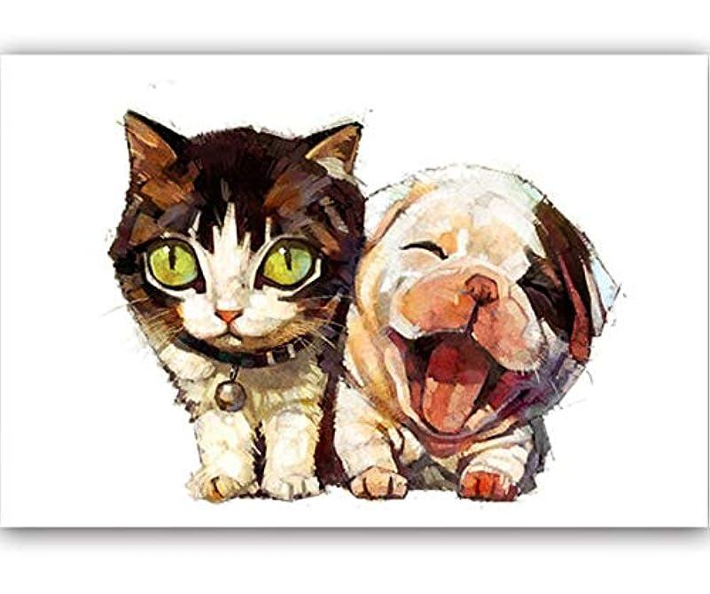 ラフト等々廊下Huihuart DIYの油絵(フレームを組み合わせた)、装飾的な絵画 数字で数字でDIYの着色写真数字でかわいい猫と犬の絵の描画の絵40x50cm