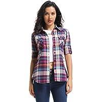 OCHENTA Women's Long Sleeve Plaid Flannel Shirt