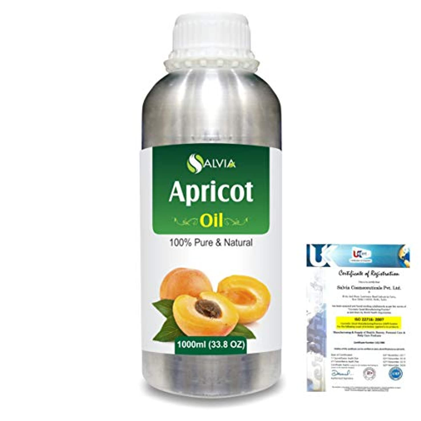 アシストうぬぼれた掃くApricot (Prunus armeniaca) Natural Pure Undiluted Uncut Carrier Oil 1000ml/33.8 fl.oz.