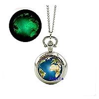 Earth Glowingポケット時計ネックレスソーラーシステムジュエリーグローin theダークポケット時計ネックレス