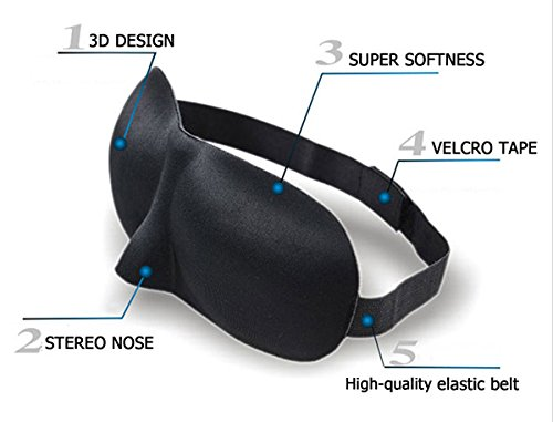 All Season Comfortable Breathable Sleeping Eye Mask / Eye Mask / Sleep Mask for Air Travel or Peaceful Night Rest (3D Eye and Nose Contoured) Black + Ear Plugs EM1