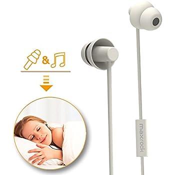 MAXROCK寝ホン カナル型 ユニークなソフトシリコンで作ったイヤホンので超快適で 外部ノイズ遮断 通話可能 通学通勤 リラックスや瞑想や不眠症の方や横寝る方や飛行機でバスで長い旅や旅行の方には 相応しい iPhone Android対応  (白い)