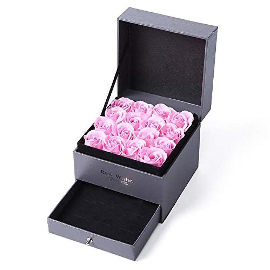 生地と花石鹸の花 石鹸の花のギフトボックスバレンタインデーの日の記念日の誕生日の母の日に不可欠なローズフラワー (色 : ピンク)