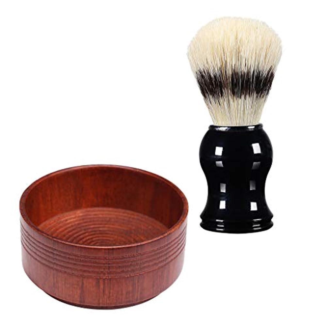 同時設置ミスHellery プロの男性のひげシェービングブラシ+オーク木製の石鹸クリームボウルマグカップセット - 03, 説明のとおり