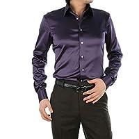 Nicellyer メンズサテンロングスリーブビッグ&トール様々な色フランネルシャツ AS12 M