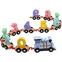 Todaytop デジタル小型木製電車 ベスト教育セット トレイン 楽しくカラフルな0~9の数字フィギュア 幼児用 木製組み立て 運搬 知育ブロック おもちゃ One Size ブルー