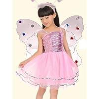 視線独占!蝶々の羽 スパンコール ピンク 3点セット 仮装衣装 子供用 コスプレ