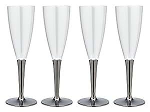 mozaik(モザイク) 軽くて割れにくい プラスチック シャンパンカップ シルバー 125ml MB-296 4個入