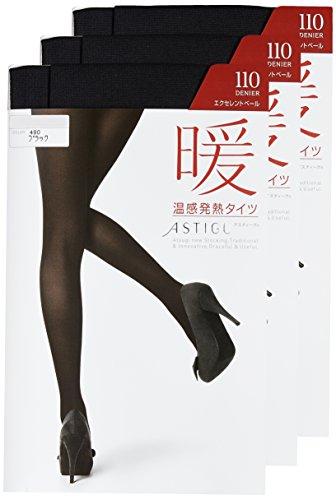 [アツギ] タイツ ASTIGU(アスティーグ) 【暖】 温感発熱タイツ 110デニール 〈3足組〉 FP9110-3 ブラック 日本 M~L-(日本サイズM-L相当)