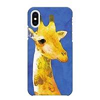 iPhoneXS iPhoneX ハード ケース カバー キリン ブルー NoA グッズ 動物 ギフト アニマル 水彩