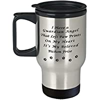 ビション・フリーゼMemorialギフトI Have Aガーディアンエンジェルthat左Paw Prints On My Heart, It 's My Belovedビション・フリーゼペットRemembrance Travel Mug with Li