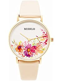 レディースクォーツ腕時計、MEDILOファッションシンプルブルームダイヤルレディース腕時計絶妙なレザーストラップと防水36ミリメートル時計 (ゲサンフア)
