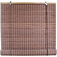 (結)1本売り 目隠し 遮光 竹製スクリーン ロールアップ式 サイズ88×135cm ブラウン色