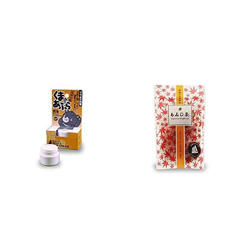 [2点セット] 信州木曽 くまのあぶら 熊油スキン&リップクリーム(9g)?もみじ茶(7パック入)