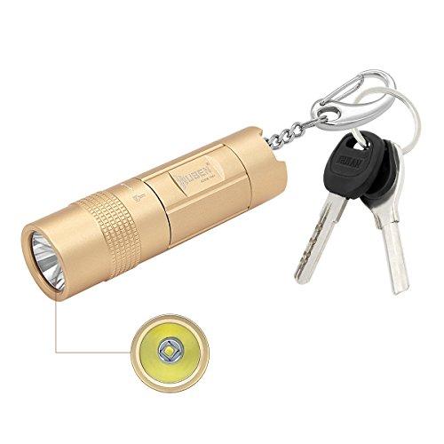 WUBEN LED懐中電灯 小型 強力 軽量 防水仕様 CREE LED アルミ合金製 リチウム電池&USBケーブル付属 (L-サイズ ゴールド E347)