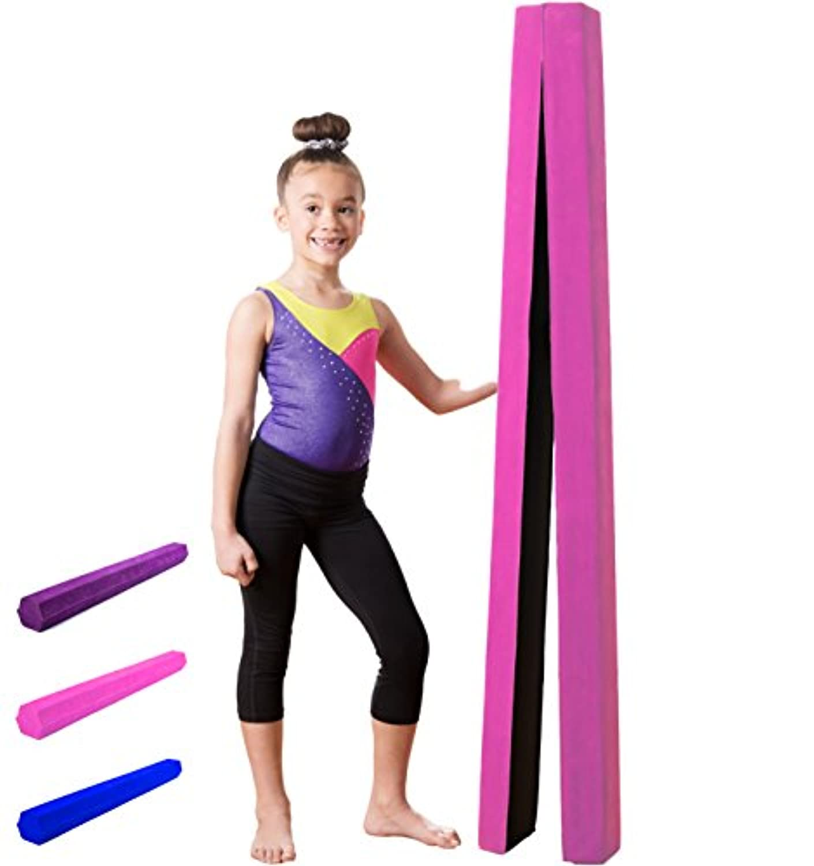 10 ft折りたたみ式バランスビーム、Extra Long体操床梁会社と、軽量耐久性フォーム|スエード調サーフェス|ノンスリップラバー下部| Kid Gymnastホーム練習機器