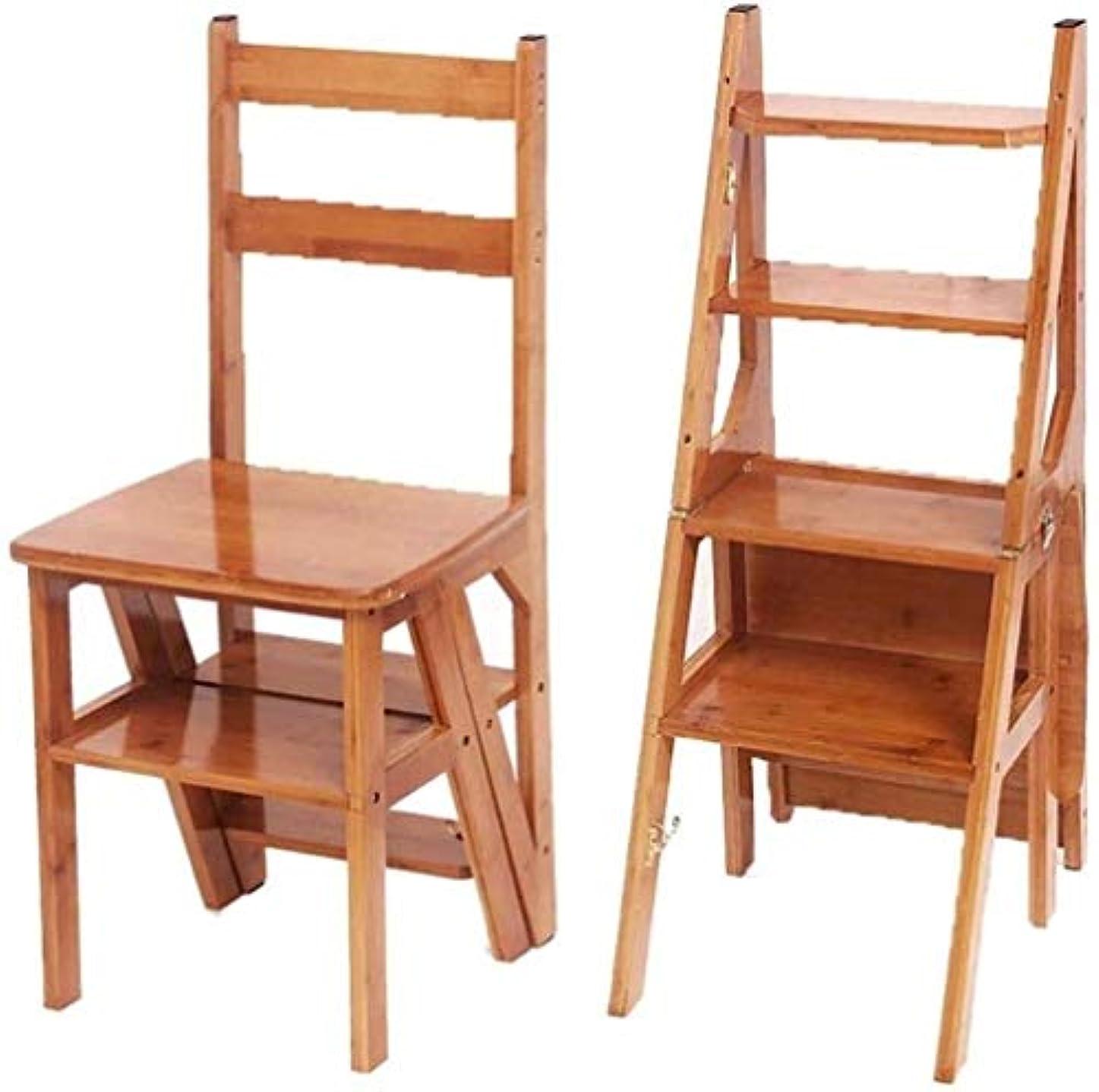 文回転する危険を冒します踏み台 家庭4層ラダースツール折りたたみステップスツール竹スツール多機能ラダー椅子キッチンステップスツール 脚立 (Color : Log Color)