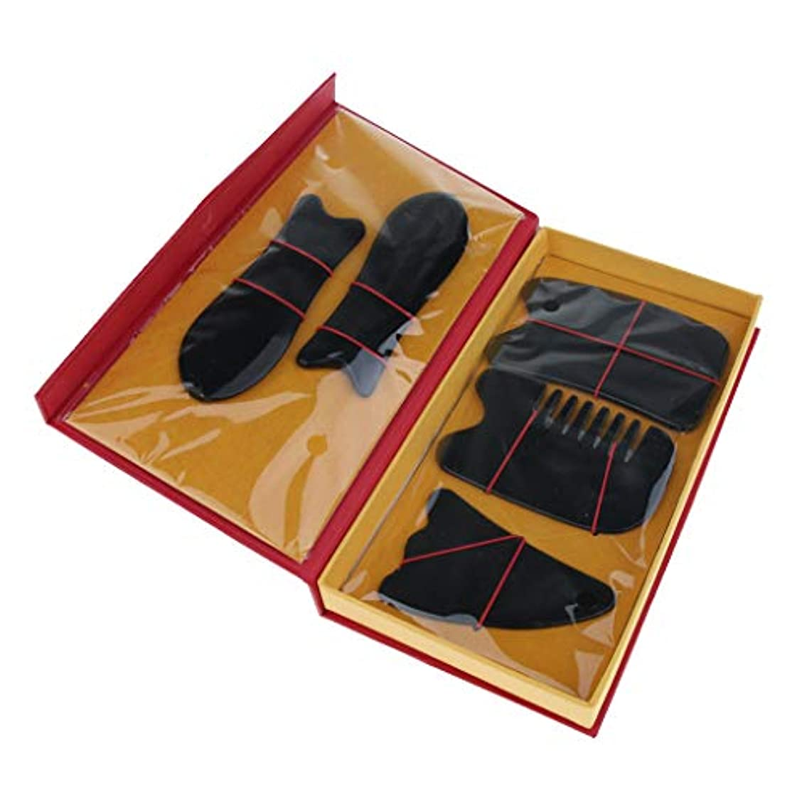 速記ジョージハンブリー異常な5本セット マッサージボード スクレイピングマッサージ スクレーパーツール 2色選べ - ブラック