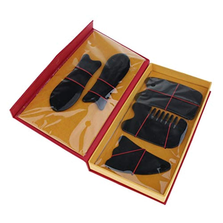 強化うま路地Perfeclan 5本セット マッサージボード スクレイピングマッサージ スクレーパーツール 2色選べ - ブラック