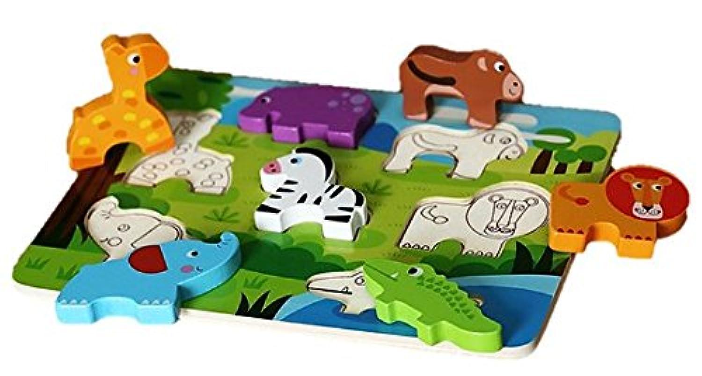 サバンナのアニマル!木製パズル( 形合わせ?型はめ 1歳からの指先知育玩具)(Cubbie Lee Toy Company) [並行輸入品]