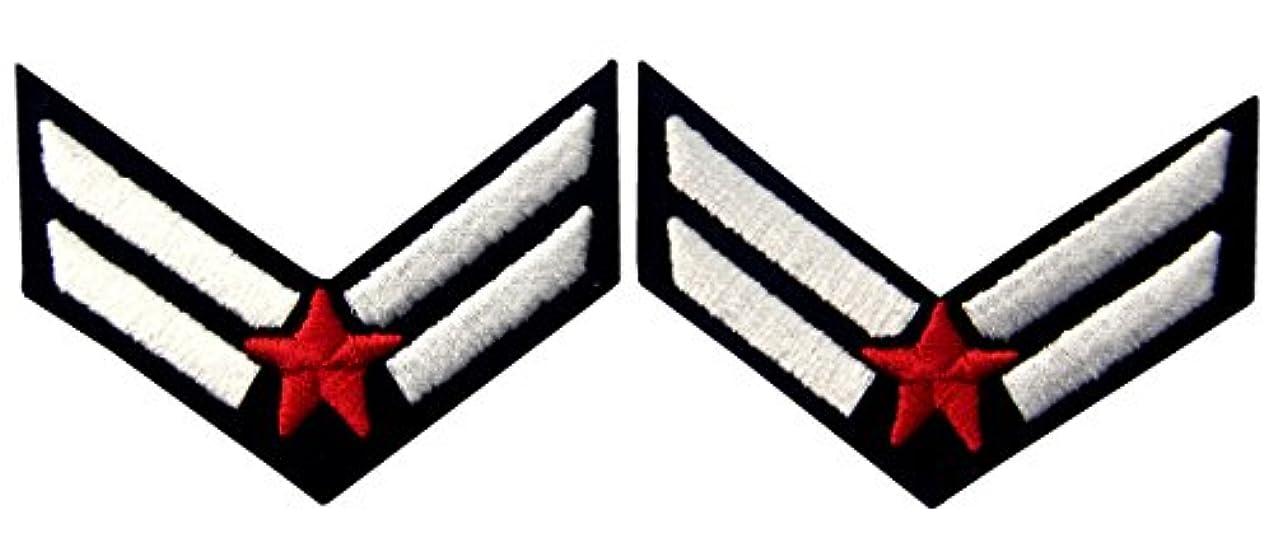 手足そう滅多空軍 パイロット シェブロン 階級章 刺繍入りアイロン貼り付け/縫い付けワッペン 赤と白 2点セット