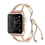 CosHall for Apple Watch Series 1/2/3 腕時計バンド ステンレス鋼 バンド 交換用ベルト きれい おしゃれ 装飾 レディース 人気 調節可能  取り外し簡単 女性向け
