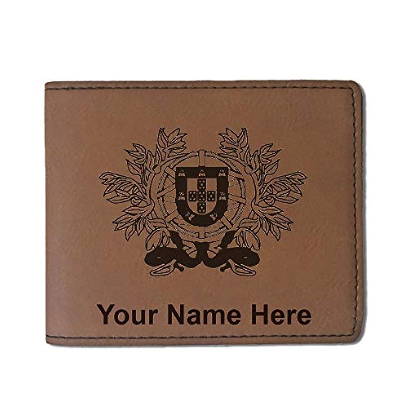 やりがいのある冷ややかな非常に怒っていますフェイクレザー財布 – Coat Of Arms Portugal – カスタマイズ彫刻Included (ダークブラウン)