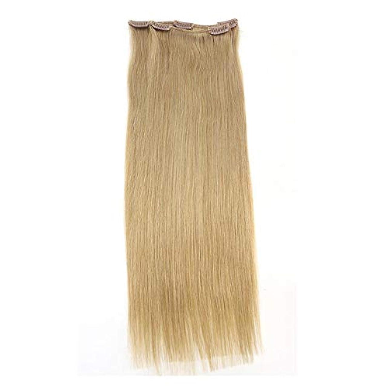免疫同行移民WASAIO 女性のためのワンピースロング真でヘアエクステンションクリップ裏地なし髪型ブロンド色のヒトクリップ (色 : Blonde, サイズ : 16 inch)