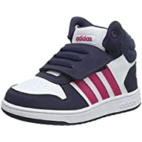 adidas Baby Girls' Hoops MID 2.0 Shoes, Footwear White/Real Magenta/Trace Blue, 24-36 Months (24-36 Months)