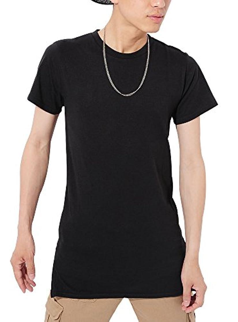 スイス人同一性郊外(ベストマート) BestMart ストリート系 選べる裾 ラウンド スクエア 半袖 長袖 サイドジップ ロング丈Tシャツ 無地 メンズ 620009