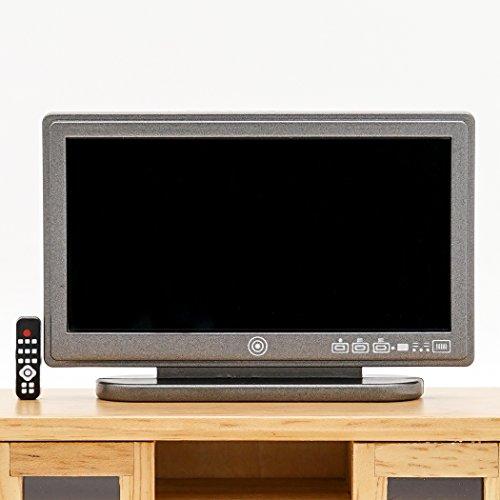 【Odoria ミニチュア家電】1/12 黒いテレビ リモートコントロール付 大きいスクリーン リビングルーム ドールハウス