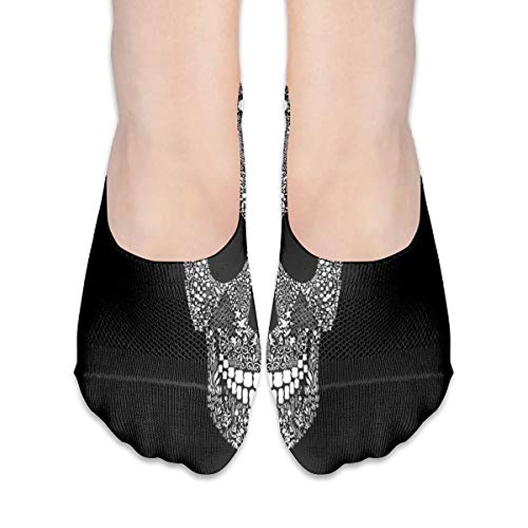 君主フレア膨らみ女性のためのショーの靴下はローカットカジュアルソックス非スリップおかしいスカルブラック