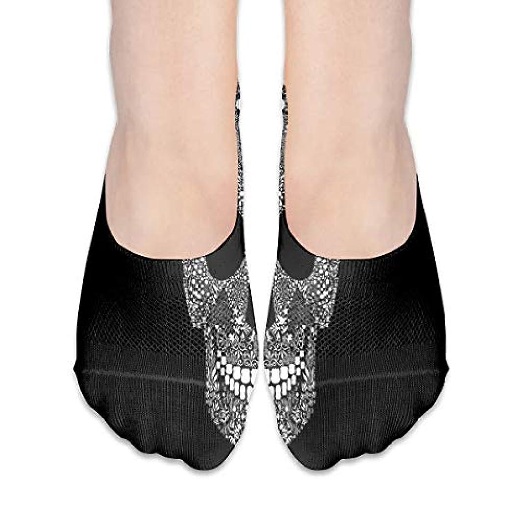 優しさシンポジウムアコー女性のためのショーの靴下はローカットカジュアルソックス非スリップおかしいスカルブラック