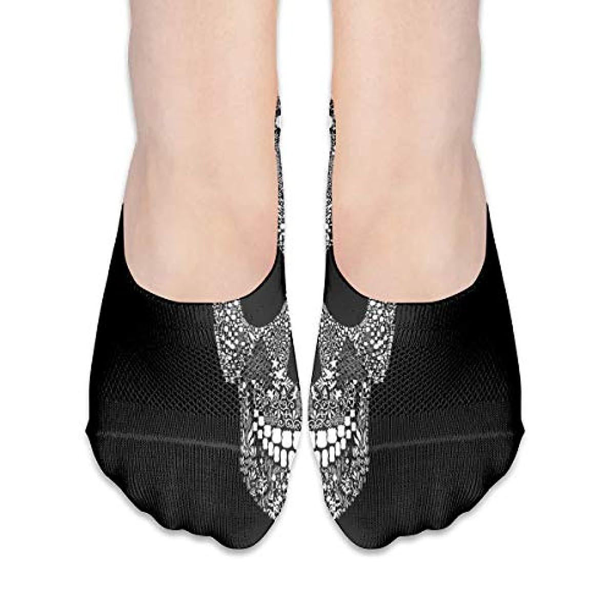 無傷レールワイヤー女性のためのショーの靴下はローカットカジュアルソックス非スリップおかしいスカルブラック