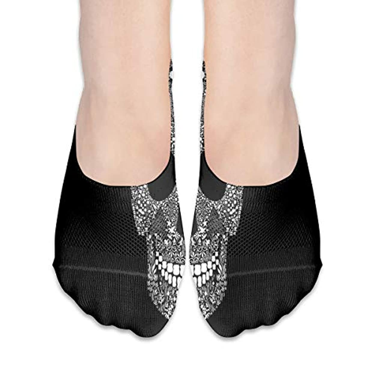 ミニオペレータースリット女性のためのショーの靴下はローカットカジュアルソックス非スリップおかしいスカルブラック