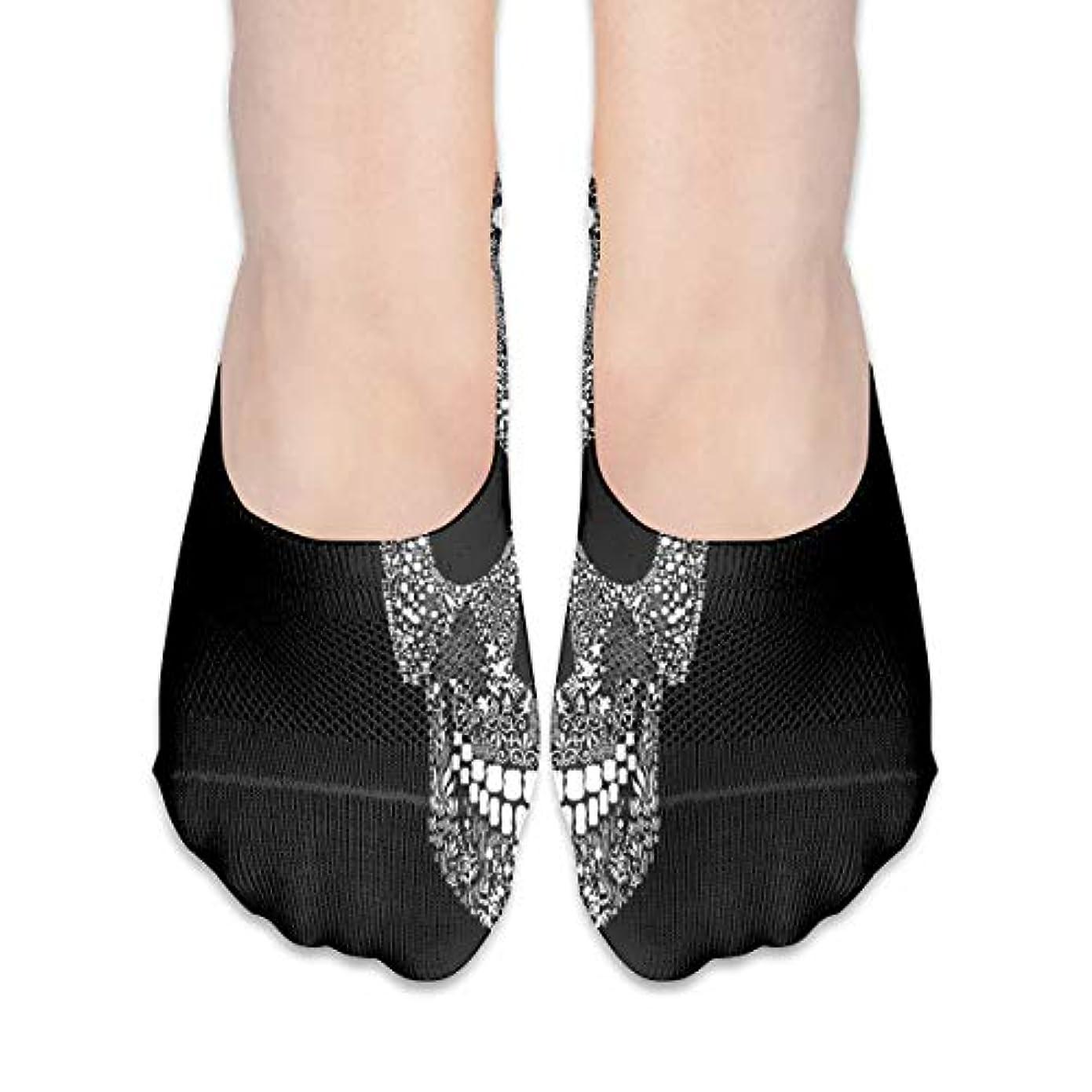 ブリーフケース道路反逆女性のためのショーの靴下はローカットカジュアルソックス非スリップおかしいスカルブラック