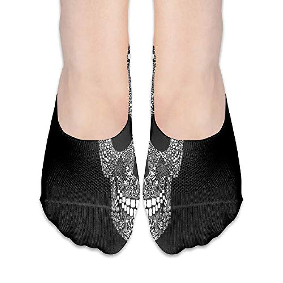 サンプル奇妙な緩む女性のためのショーの靴下はローカットカジュアルソックス非スリップおかしいスカルブラック
