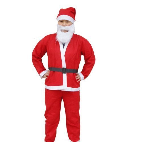 大人用! サンタ コスプレ クリスマス 衣装 上下 帽子 髭 ベルト 5点 フルセット