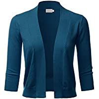 LALABEE Women's Classic 3/4 Sleeve Open Front Cropped Bolero Cardigan (S~XL)