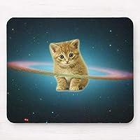 銀河系猫の子ネコの軌道リング マウスパッドサイズ200x250mm 天然ゴムと布製 特別なデザイン 撥水加工 滑り止め