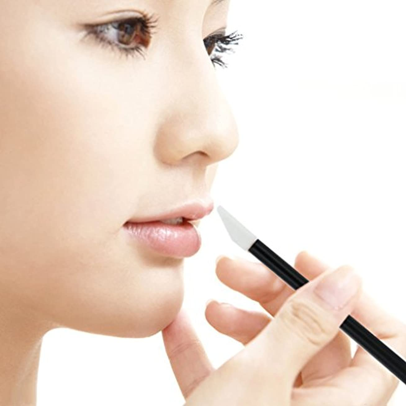 介入する確立しますマエストロZafina リップブラシ 使い捨て 便利 化粧用品 メイクアップ  化粧ブラシ50本セット  (ブラック)