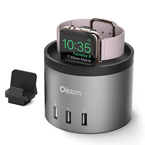 Oittm Apple Watch Series 4 充電スタンド 3in1充電スタンド 充電 クレードル ドック 4ポート USB充電器 多機能 充電ケーブル収納可能 コンパクト アップルウォッチ 44mm/40mm 各種対応、iPhone Xs/Xs Max/Xr/X、iPhone8/8 Plus、iPhone7/7 Plus等に対応 (ブラック)